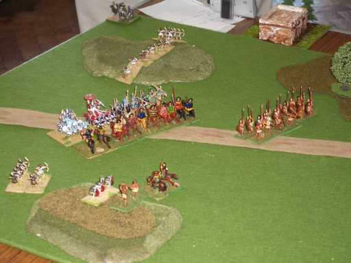 The initial clash of the mounted troops.
